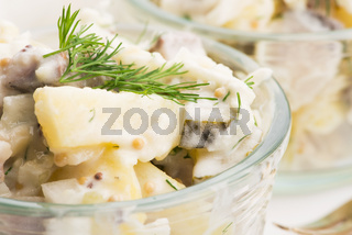 Salad rasols made of herring, cucumber and potato, dressed with mayonnaise and mustard