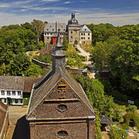 Liedberg Castle with the tower of the Liedberg Castle Chapel, Korschenbroich, Germany, Europe