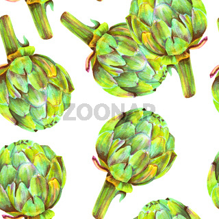 A seamless pattern of watercolor artichokes on a white background, a repeat print