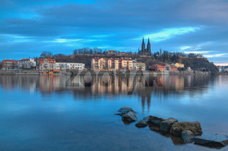 View on the Vysehrad fort in the dramatic evening, Prague,