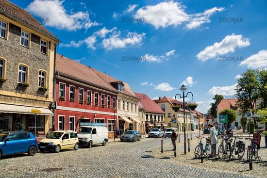 lübbenau, germany - 23.05.2019 - marketplace with renovated old buildings