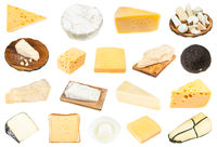 various pieces of cheeses isolated on white