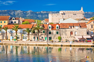 Town of Vrboska waterfront and fortress view