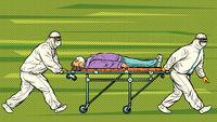 Doctors take away a sick patient. Novel Wuhan coronavirus 2019-nCoV epidemic outbreak
