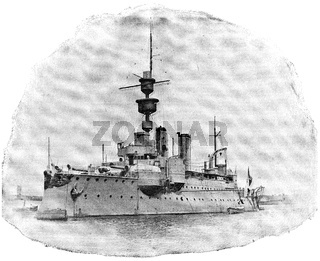 SMS Aegir (1895) - the second and final member of the Odin class of coastal defense ships built for the Imperial German Navy. Illustration of the 19th century. Germany. White background.