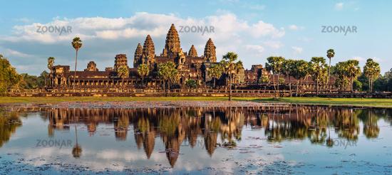 Panorama view of Angkor Wat. Siem Reap, Cambodia