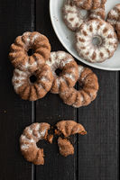 Sweet rings cookies. Biscuits with cocoa flavor