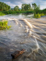 Rapids on a stream into a lake in Burgenland
