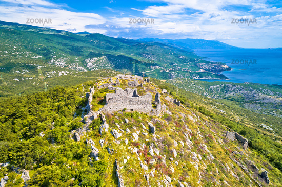Ledenice historic Gradina town on the hill ruins view,