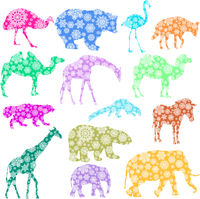 Christmas card elephant, giraffe, bear, flamingo, zebra, camel, hyena in snowflakes on a white background