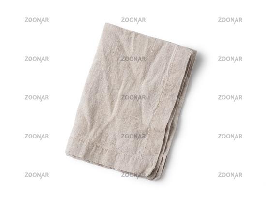 Gray linen napkin isolated on white