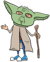 boy in master Yoda costume at Halloween party cartoon illustration