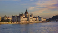 Hungarian Parliament Building in Budapest at sunset