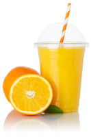 Orange fruit juice smoothie drink oranges in a cup isolated on white
