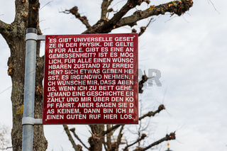 Human Right Sign near the Entrance to Federal Court of Justice of Germany, Bundesverfassungsgericht, BGH. Karlsruhe