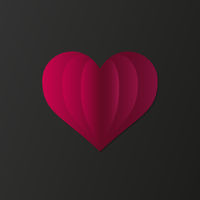 pink fanned out heart isolated on dark background