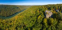 Panorama of Coopers Rock state park overlook over the Cheat River in West Virginia with fall colors