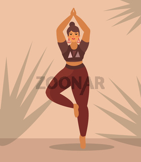 Woman practices yoga at home. Beautiful Plus Size Curvy Girl in Vrikshasana Position. Vector illustration