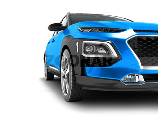 Modern car crossover in front for trips 3D rendering on white background with shadow