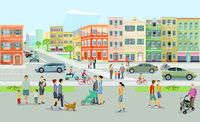 Big city with public transport, pedestrians and road traffic, illustration