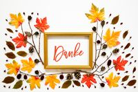Colorful Autumn Leaf Decoration, Golden Frame, Text Danke Means Thank You