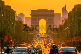 Golden Sunset on the Champs Elysees
