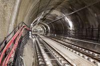 Subway tunnel rail tracks