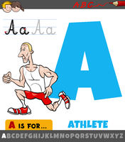 letter A worksheet with cartoon athlete
