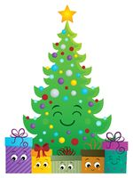 Stylized Christmas tree and gifts 1