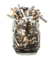 Cigarette butts in jar