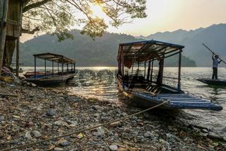 typical Vietnamese landscape in spring in Ba Be Lake