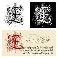 Decorative Gothic Letter E. Uncial Fraktur calligraphy.