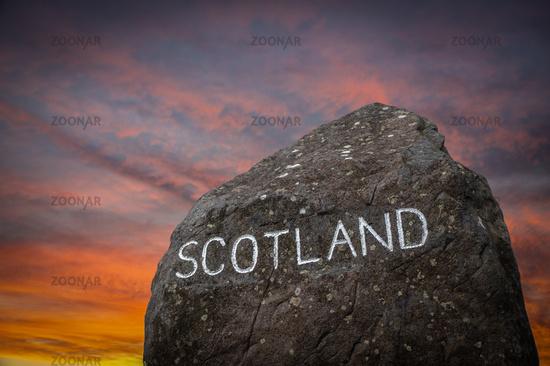 The Scottish Border Sign At Sunset