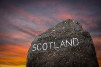 The Scottish Border Sign At Sunset