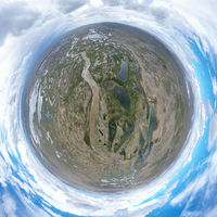 little planet image of beautiful plateau wetlands