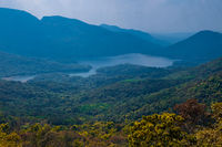 View on lake and mountains in Goa