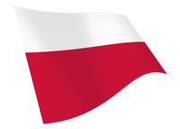 Poland waving flag graphic isolated on white with clipping path 3d illustration