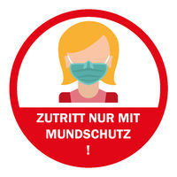 Woman Sign Zutritt Mundschutz