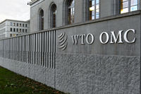 High walls surrounding the headquarters of the World Trade Organization, WTO, Geneva, Switzerland