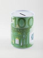 Hundred euro money box, isolated on white background. Economy, retirement, insurance concept.