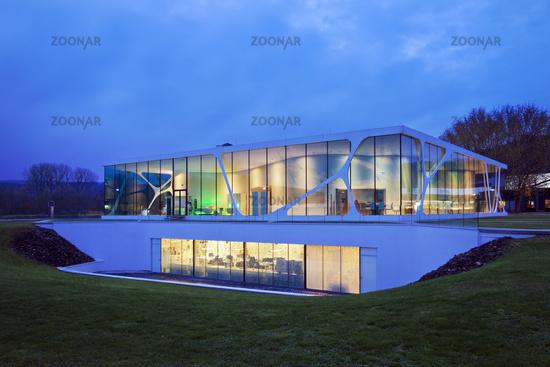 Glass Cube during blue hour, Leonardo brand building, Bad Driburg, Germany, Europe