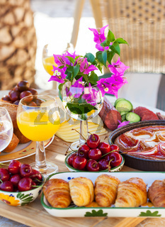 Summer snack or breakfast served in the garden