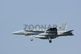 Leeuwarden, Netherlands Apr 10, 2015: Spanish F-18 Landing at Frisian Flag