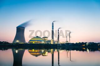 coal power plant in nightfall