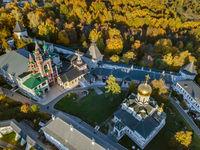 Savvino-Storozhevsky Monastery in Zvenigorod - Moscow Russia - aerial view
