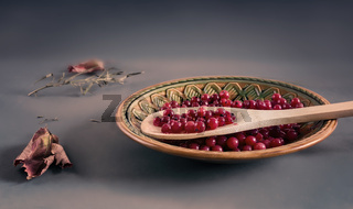 Red currant berries in a ceramic plate