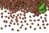 Coffee Beans With Fresh Green Leaves Isolated