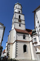 Church tower of the parish church St. Martin in the historic old town of Biberach