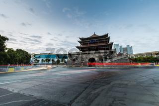Zhangye drum tower in dawn