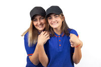 Portrait of two happy women, mother and daughter in blue T-shirts
